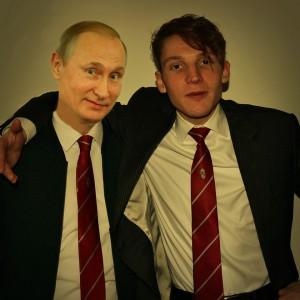 Jelles met boezemvriend Vladimir op het jaarlijkse correspondents' diner van LSVV'70.