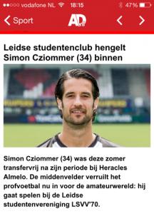 In de zomer van 2015 dacht de landelijke pers dat profvoetballer Simon Cziommer naar LSVV '70 overstapte.